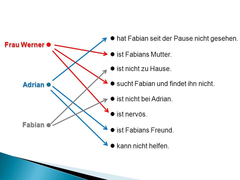Frau Werner AdrianFabian hat Fabian seit der Pause nicht gesehen.