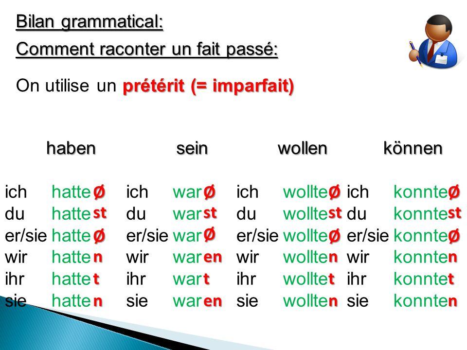 Bilan grammatical: Comment raconter un fait passé: On utilise unprétérit (= imparfait) haben ich hatte du hatte er/siehatte wirhatte ihrhatte siehattesein ich war du war er/siewar wirwar ihrwar siewarwollen ich wollte du wollte er/siewollte wirwollte ihrwollte siewolltekönnen ich konnte du konnte er/siekonnte wirkonnte ihrkonnte siekonnte ØØØØ ØØ Ø Ø n n nn nn en en tttt stststst
