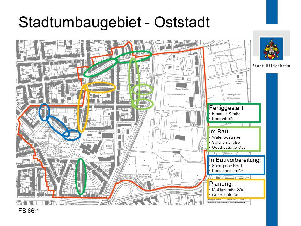 FB 66.1 Stadtumbaugebiet - Oststadt Fertiggestellt: Einumer Straße Kampstraße Im Bau: Waterloostraße Spichernstraße Goethestraße Ost In Bauvorbereitun