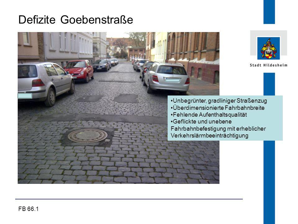FB 66.1 Defizite Goebenstraße Unbegrünter, gradliniger Straßenzug Überdimensionierte Fahrbahnbreite Fehlende Aufenthaltsqualität Geflickte und unebene