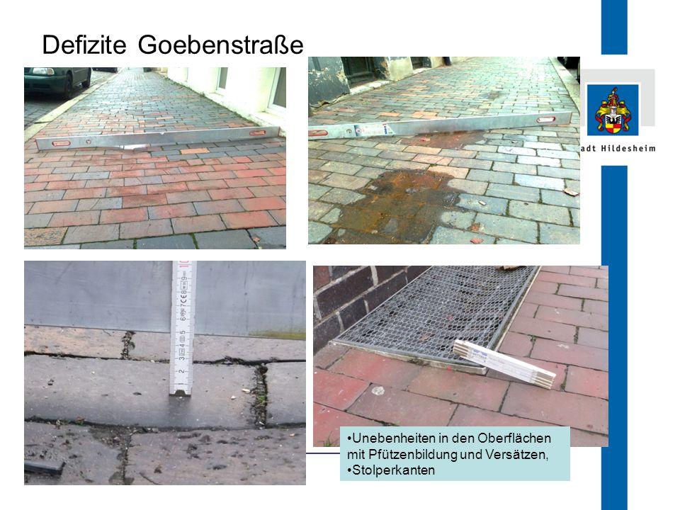 FB 66.1 Defizite Goebenstraße Unebenheiten in den Oberflächen mit Pfützenbildung und Versätzen, Stolperkanten
