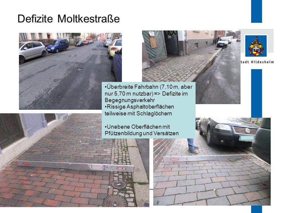 FB 66.1 Defizite Moltkestraße Überbreite Fahrbahn (7,10 m, aber nur 5,70 m nutzbar) => Defizite im Begegnungsverkehr Rissige Asphaltoberflächen teilwe