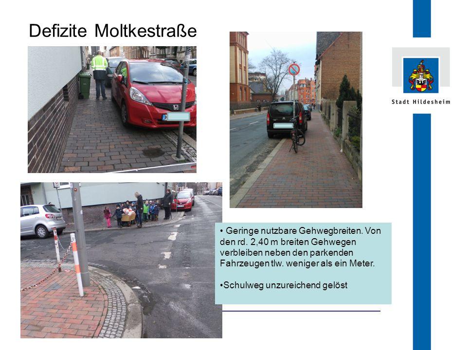 FB 66.1 Defizite Moltkestraße Geringe nutzbare Gehwegbreiten. Von den rd. 2,40 m breiten Gehwegen verbleiben neben den parkenden Fahrzeugen tlw. wenig