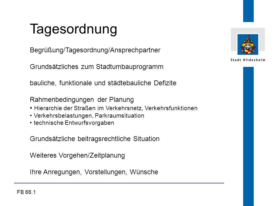 FB 66.1 Tagesordnung Begrüßung/Tagesordnung/Ansprechpartner Grundsätzliches zum Stadtumbauprogramm bauliche, funktionale und städtebauliche Defizite R