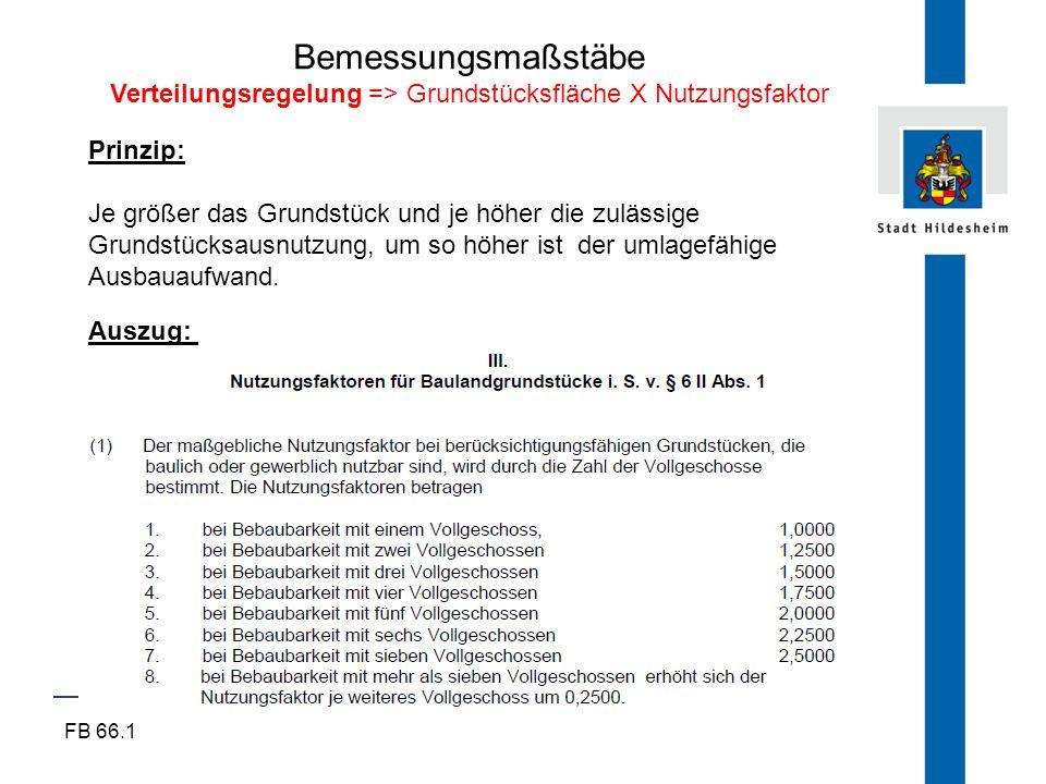 FB 66.1 Bemessungsmaßstäbe Verteilungsregelung => Grundstücksfläche X Nutzungsfaktor Prinzip: Je größer das Grundstück und je höher die zulässige Grun