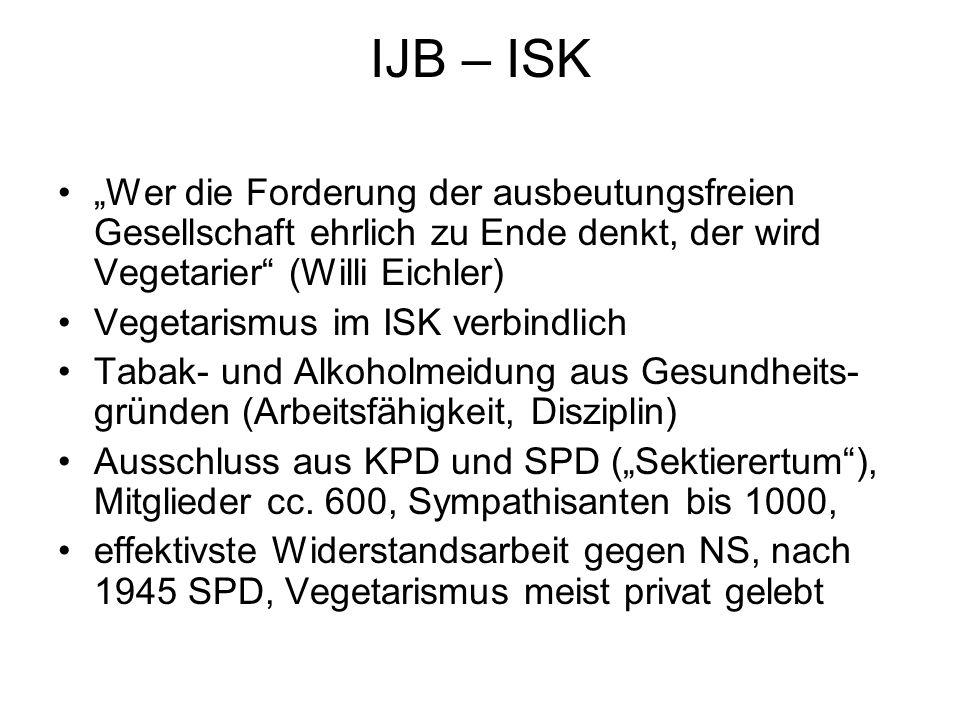 """IJB – ISK """"Wer die Forderung der ausbeutungsfreien Gesellschaft ehrlich zu Ende denkt, der wird Vegetarier"""" (Willi Eichler) Vegetarismus im ISK verbin"""