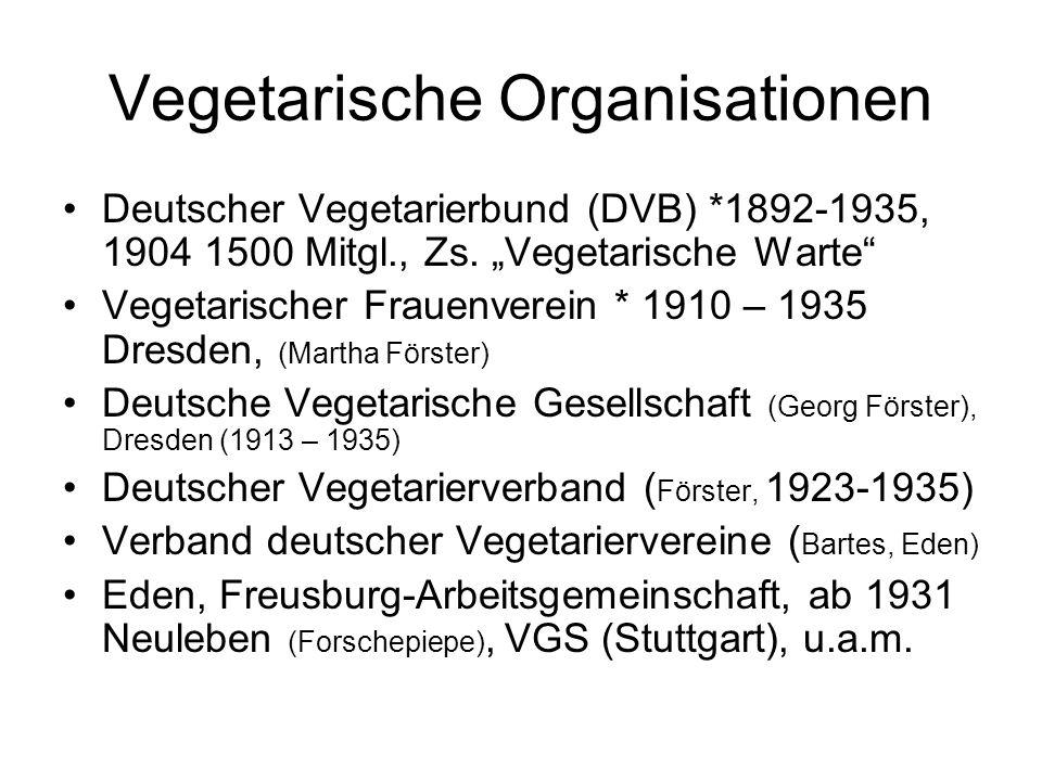 """Vegetarische Organisationen Deutscher Vegetarierbund (DVB) *1892-1935, 1904 1500 Mitgl., Zs. """"Vegetarische Warte"""" Vegetarischer Frauenverein * 1910 –"""