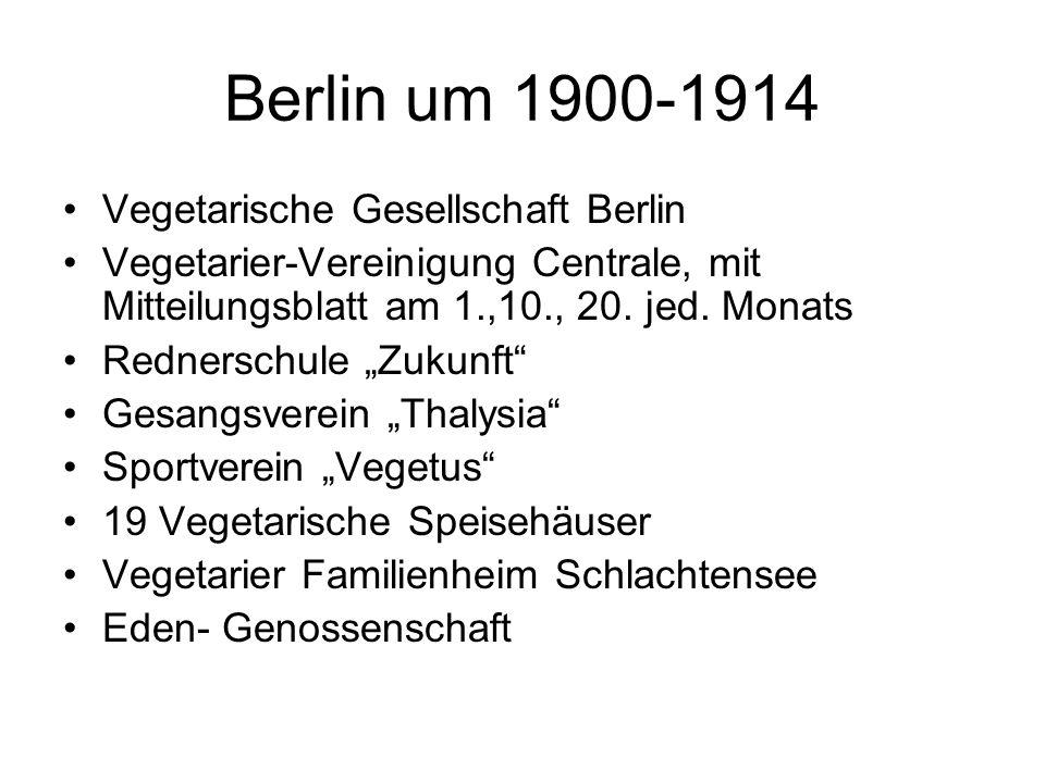 """Berlin um 1900-1914 Vegetarische Gesellschaft Berlin Vegetarier-Vereinigung Centrale, mit Mitteilungsblatt am 1.,10., 20. jed. Monats Rednerschule """"Zu"""