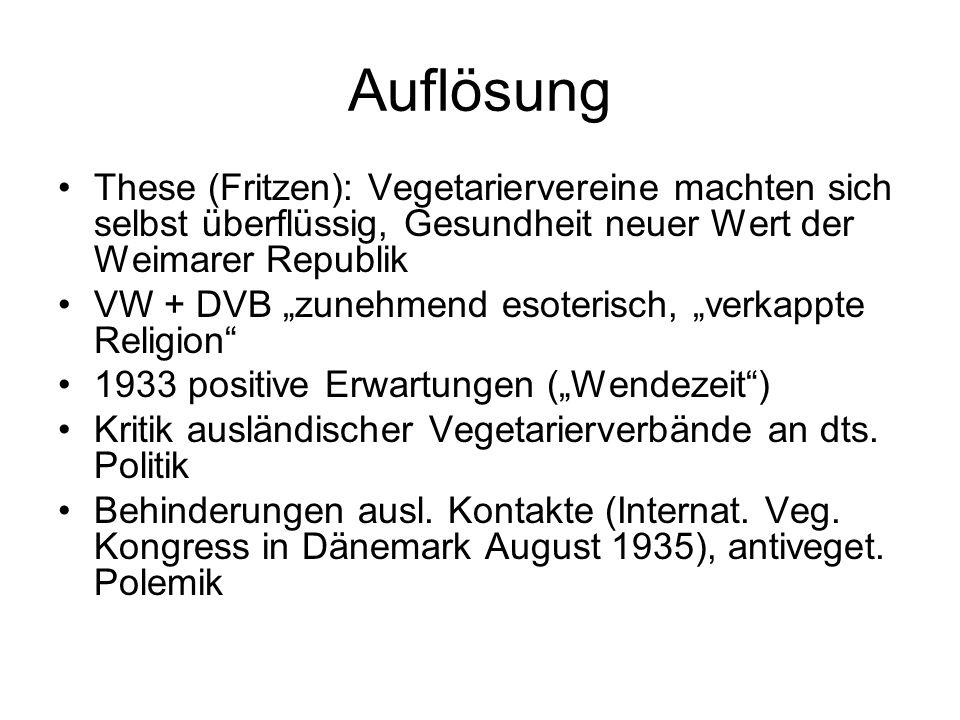 """Auflösung These (Fritzen): Vegetariervereine machten sich selbst überflüssig, Gesundheit neuer Wert der Weimarer Republik VW + DVB """"zunehmend esoteris"""