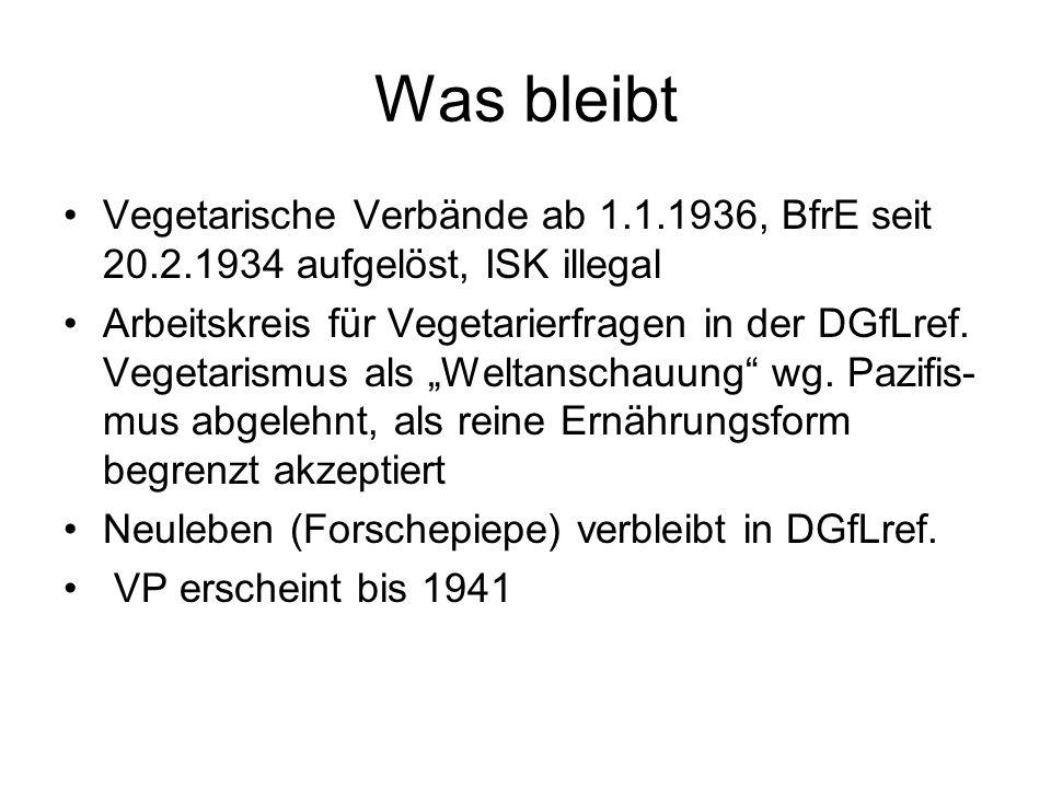 Was bleibt Vegetarische Verbände ab 1.1.1936, BfrE seit 20.2.1934 aufgelöst, ISK illegal Arbeitskreis für Vegetarierfragen in der DGfLref. Vegetarismu