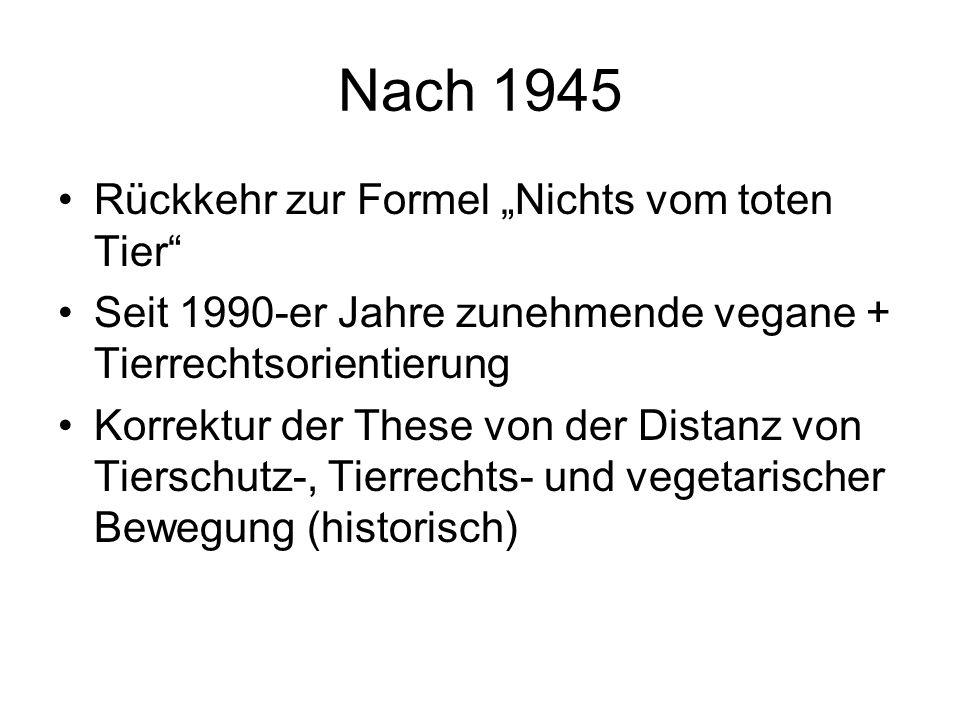 """Nach 1945 Rückkehr zur Formel """"Nichts vom toten Tier"""" Seit 1990-er Jahre zunehmende vegane + Tierrechtsorientierung Korrektur der These von der Distan"""
