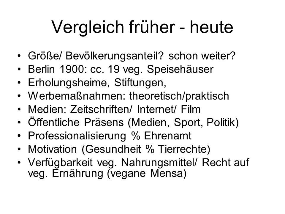 Vergleich früher - heute Größe/ Bevölkerungsanteil? schon weiter? Berlin 1900: cc. 19 veg. Speisehäuser Erholungsheime, Stiftungen, Werbemaßnahmen: th