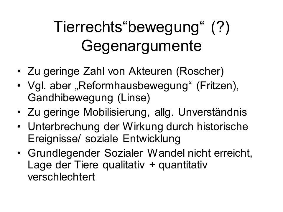 """Tierrechts""""bewegung"""" (?) Gegenargumente Zu geringe Zahl von Akteuren (Roscher) Vgl. aber """"Reformhausbewegung"""" (Fritzen), Gandhibewegung (Linse) Zu ger"""