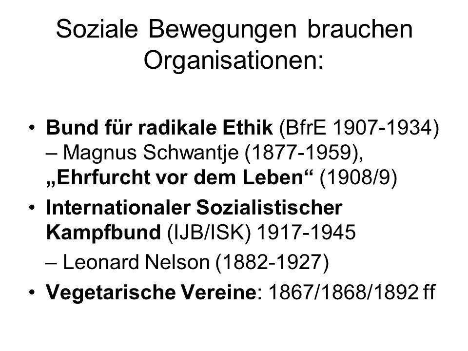 """Soziale Bewegungen brauchen Organisationen: Bund für radikale Ethik (BfrE 1907-1934) – Magnus Schwantje (1877-1959), """"Ehrfurcht vor dem Leben"""" (1908/9"""