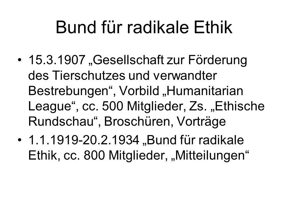 """Bund für radikale Ethik 15.3.1907 """"Gesellschaft zur Förderung des Tierschutzes und verwandter Bestrebungen"""", Vorbild """"Humanitarian League"""", cc. 500 Mi"""