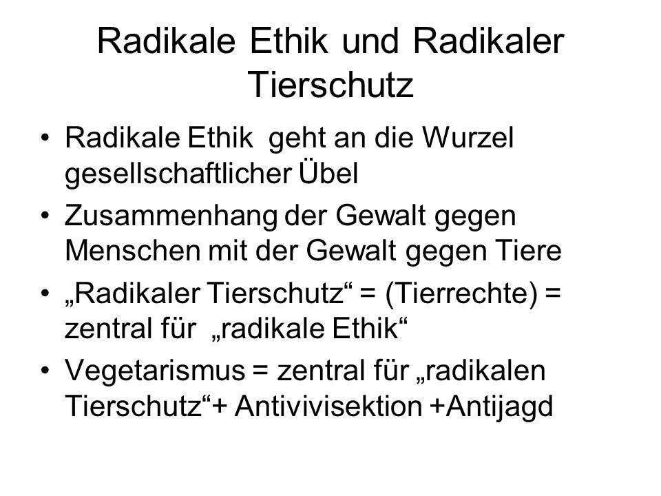 Radikale Ethik und Radikaler Tierschutz Radikale Ethik geht an die Wurzel gesellschaftlicher Übel Zusammenhang der Gewalt gegen Menschen mit der Gewal