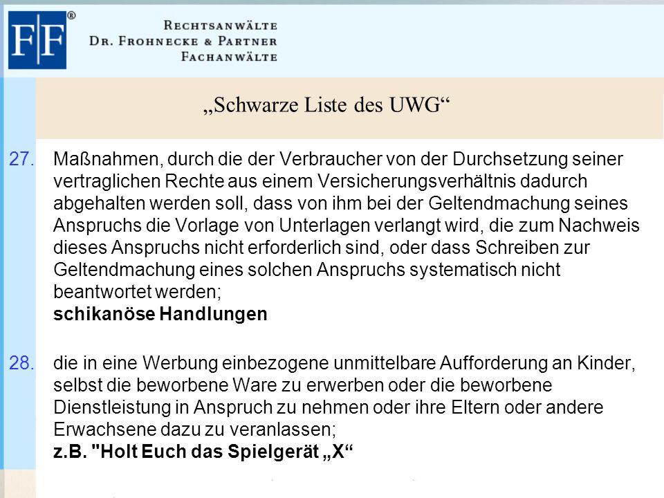 """""""Schwarze Liste des UWG 27."""
