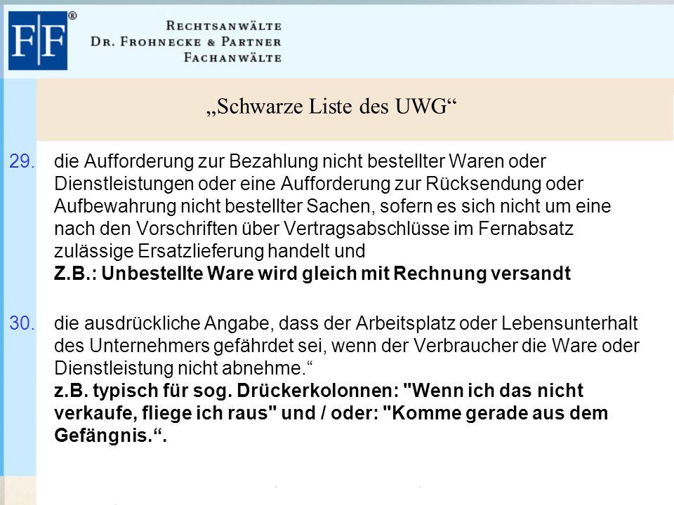 """""""Schwarze Liste des UWG 29."""