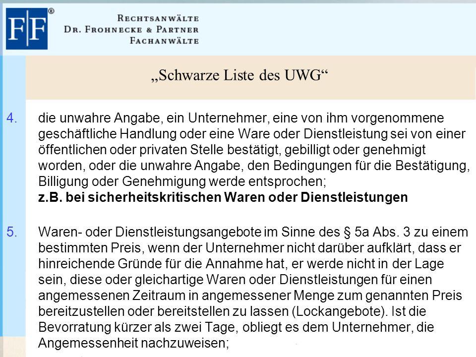 """""""Schwarze Liste des UWG 4."""