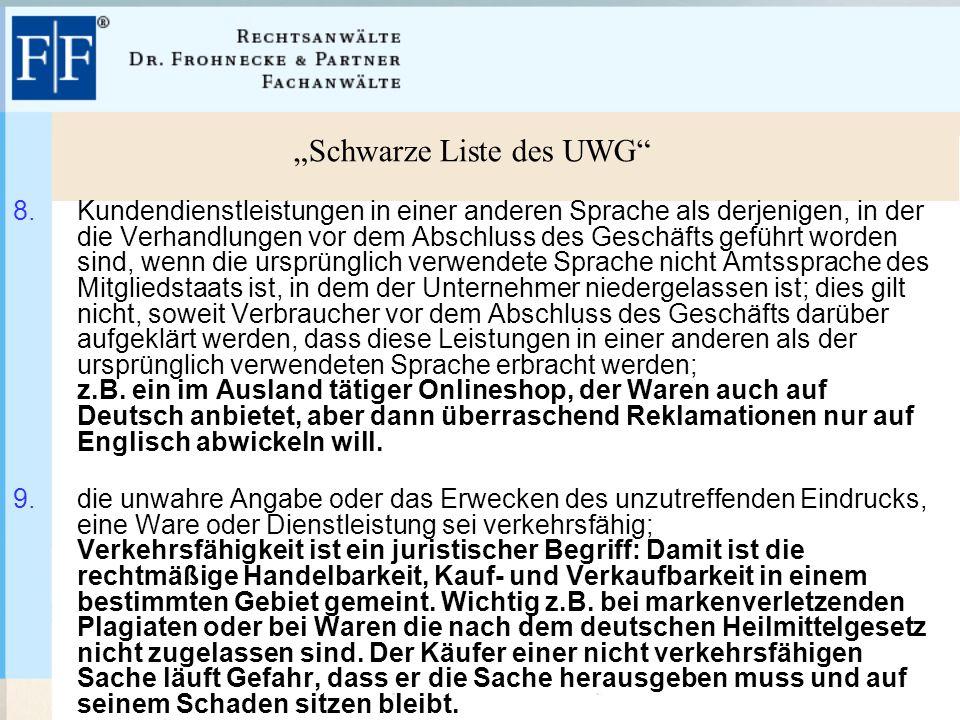 """""""Schwarze Liste des UWG 8."""