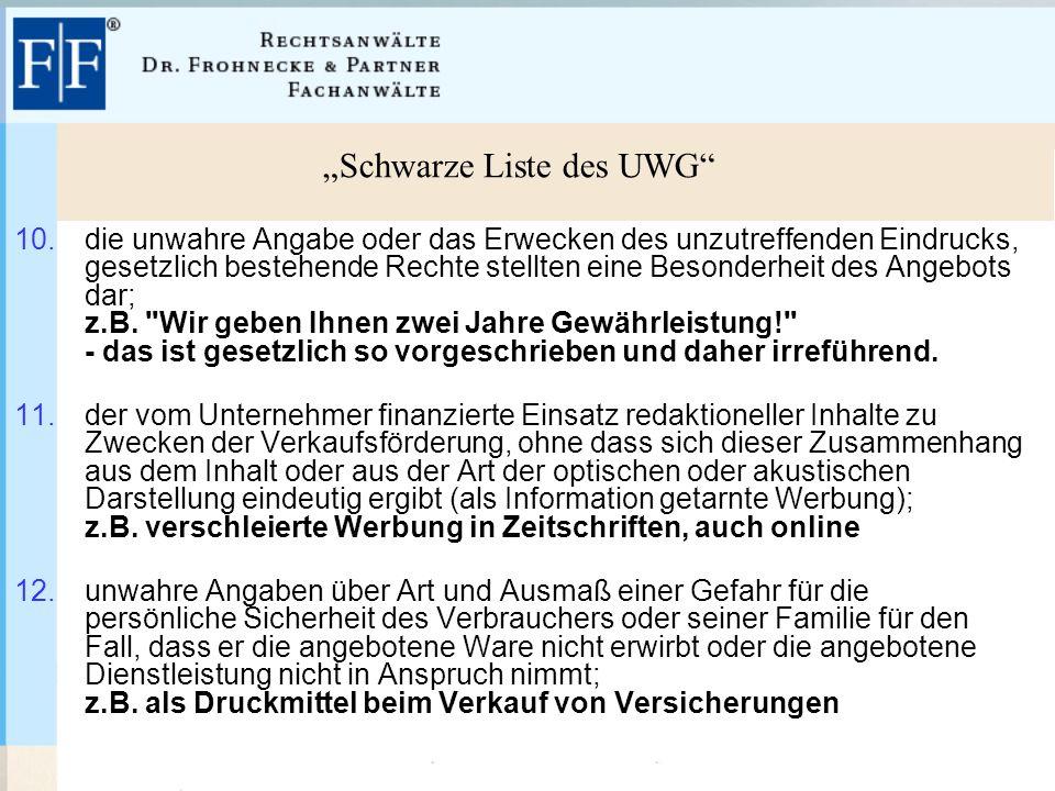 """""""Schwarze Liste des UWG 10."""
