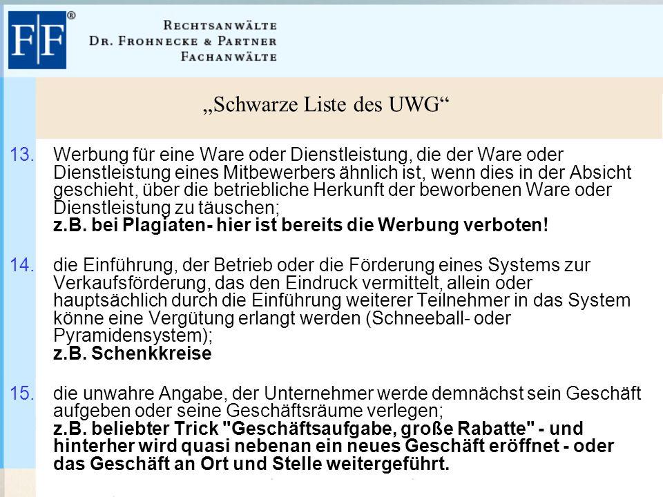"""""""Schwarze Liste des UWG 13."""