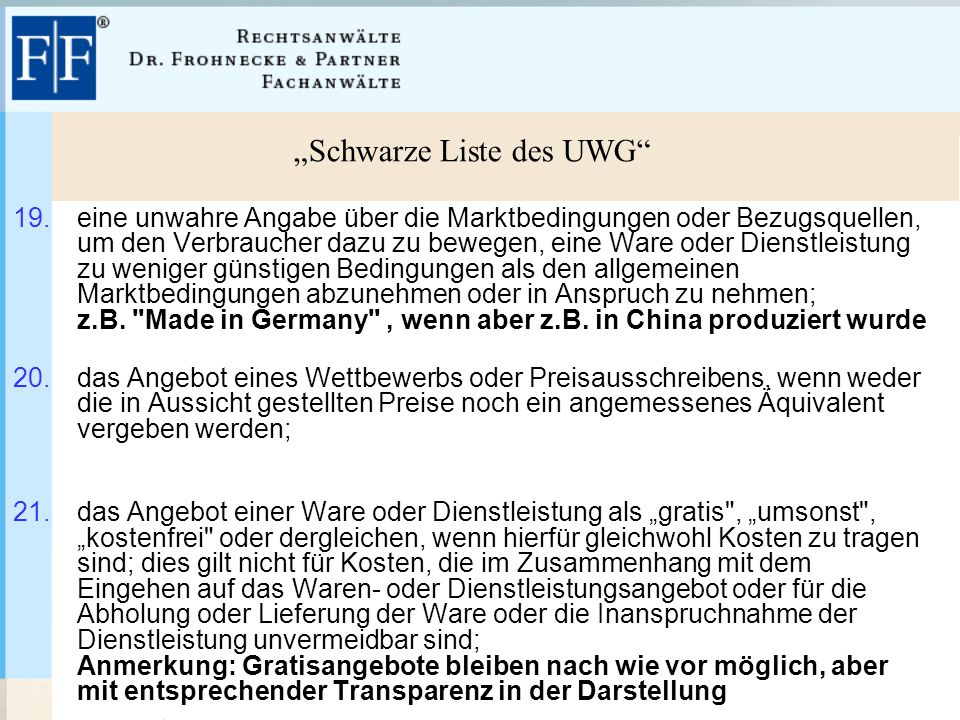 """""""Schwarze Liste des UWG 19."""