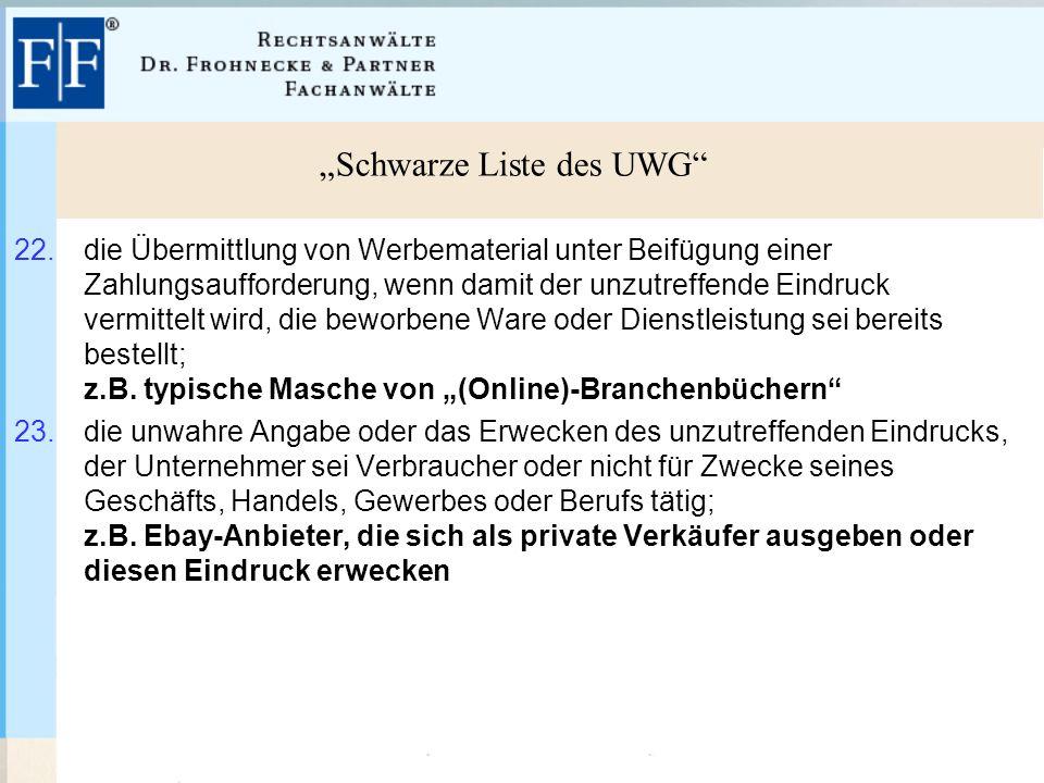 """""""Schwarze Liste des UWG 22."""