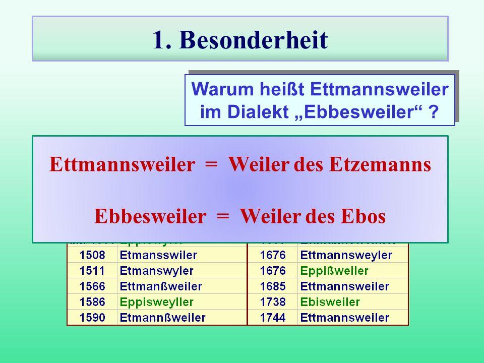 """1. Besonderheit Warum heißt Ettmannsweiler im Dialekt """"Ebbesweiler"""" ? Warum heißt Ettmannsweiler im Dialekt """"Ebbesweiler"""" ? Ettmannsweiler = Weiler de"""