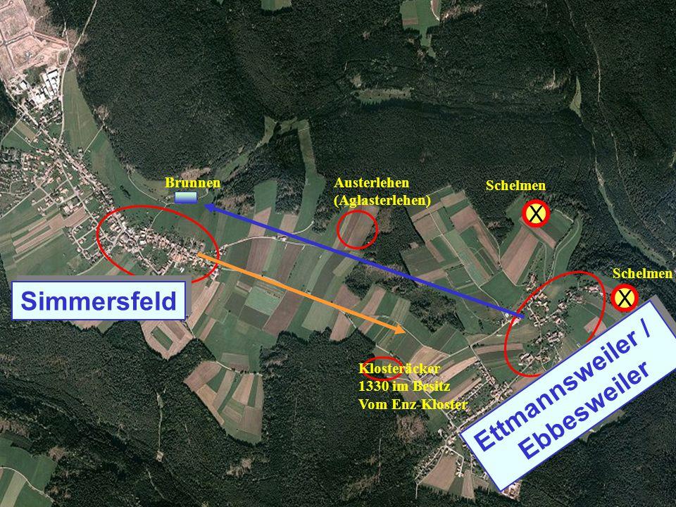 Sim Ettm LuBI von Str.dienst Klosteräcker 1330 im Besitz Vom Enz-Kloster Austerlehen (Aglasterlehen) X Schelmen X Brunnen Simmersfeld Ettmannsweiler /