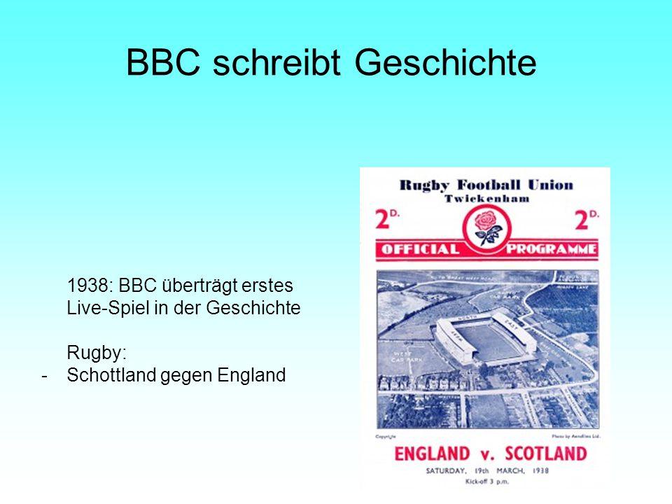 BBC schreibt Geschichte 1938: BBC überträgt erstes Live-Spiel in der Geschichte Rugby: -Schottland gegen England