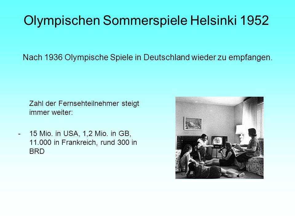 Nach 1936 Olympische Spiele in Deutschland wieder zu empfangen. Zahl der Fernsehteilnehmer steigt immer weiter: -15 Mio. in USA, 1,2 Mio. in GB, 11.00