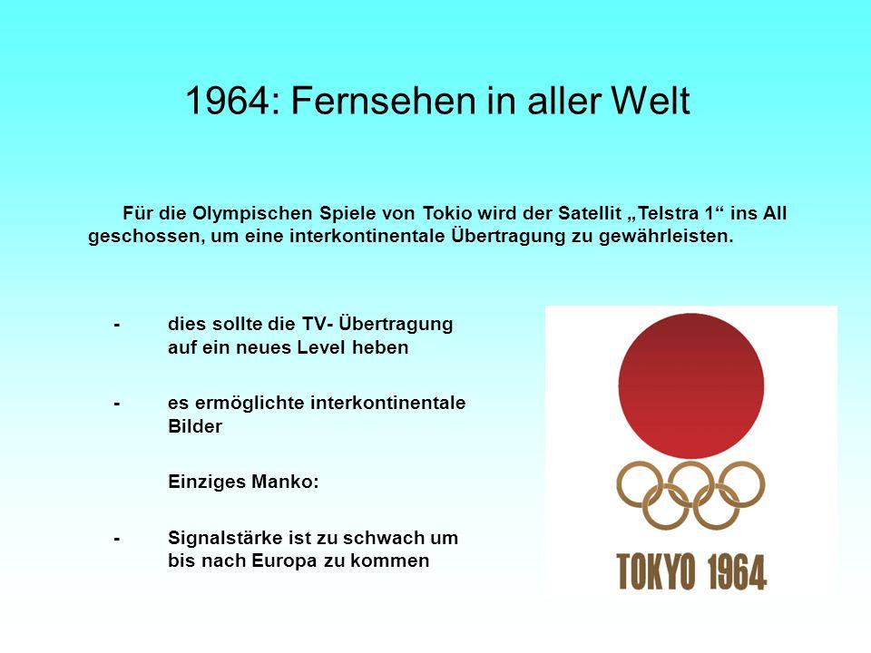 1964: Fernsehen in aller Welt -dies sollte die TV- Übertragung auf ein neues Level heben -es ermöglichte interkontinentale Bilder Einziges Manko: -Sig
