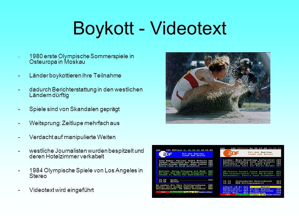 Boykott - Videotext - 1980 erste Olympische Sommerspiele in Osteuropa in Moskau -Länder boykottieren ihre Teilnahme -dadurch Berichterstattung in den