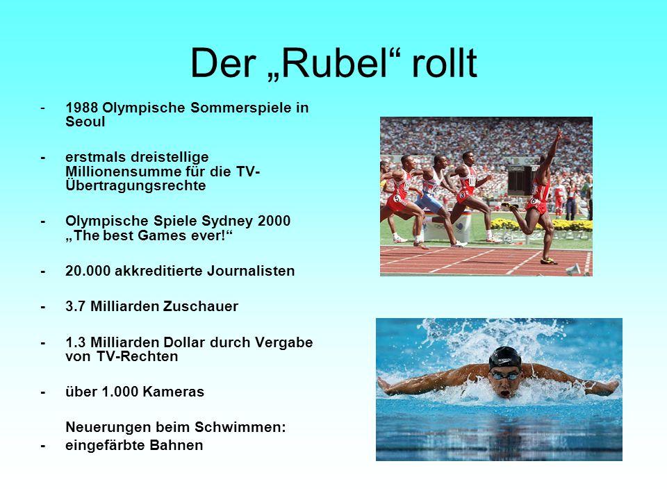 """Der """"Rubel"""" rollt -1988 Olympische Sommerspiele in Seoul -erstmals dreistellige Millionensumme für die TV- Übertragungsrechte -Olympische Spiele Sydne"""