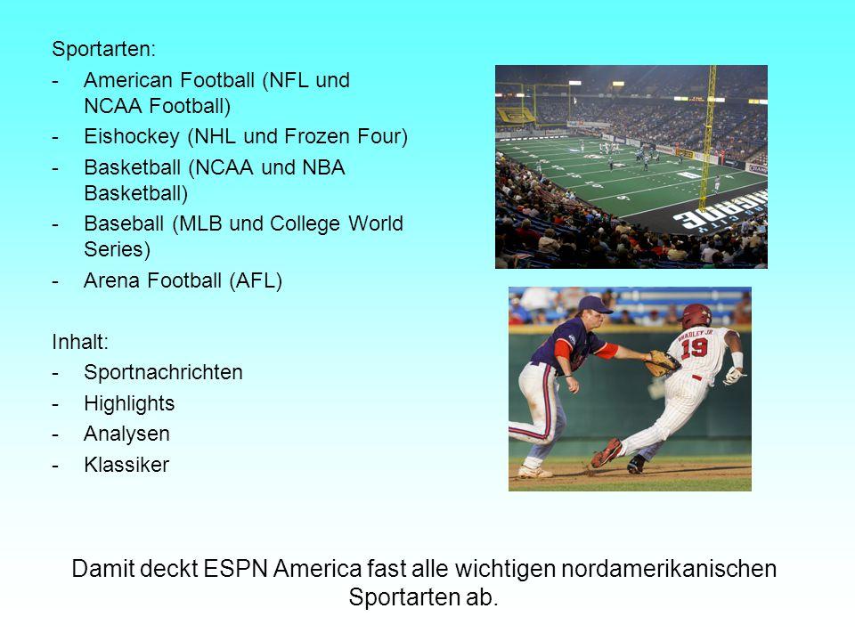 Sportarten: -American Football (NFL und NCAA Football) -Eishockey (NHL und Frozen Four) -Basketball (NCAA und NBA Basketball) -Baseball (MLB und Colle