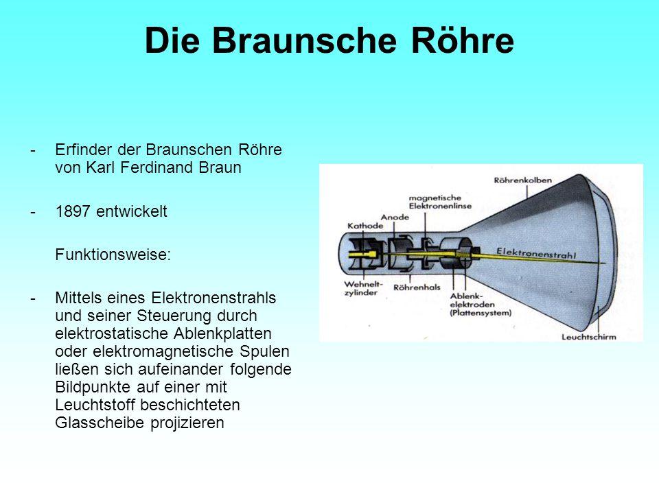 Die Braunsche Röhre -Erfinder der Braunschen Röhre von Karl Ferdinand Braun -1897 entwickelt Funktionsweise: -Mittels eines Elektronenstrahls und sein