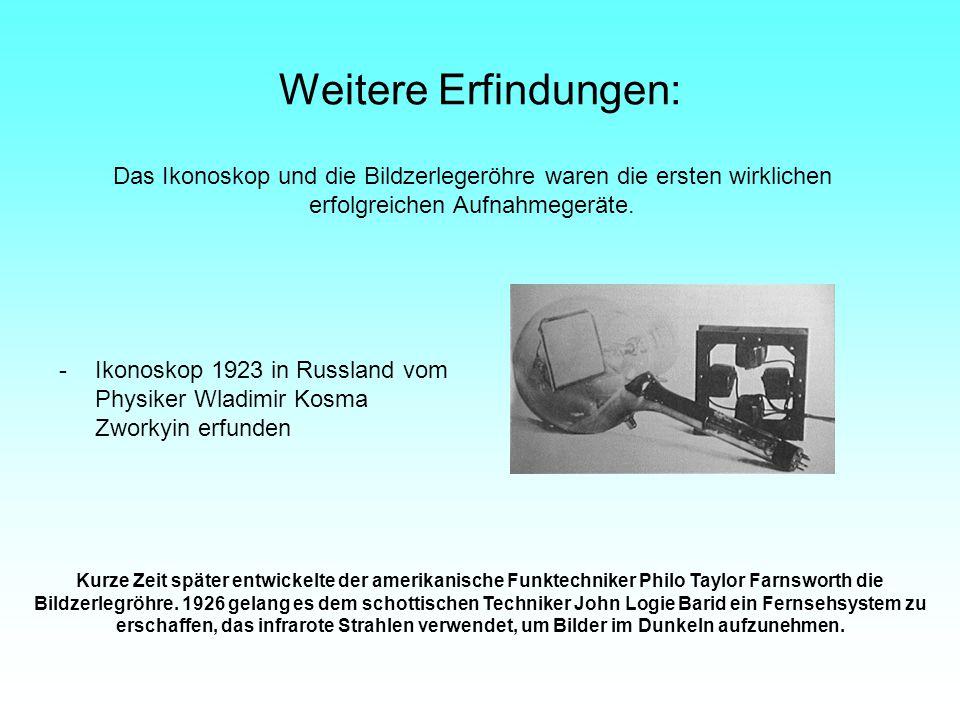 Weitere Erfindungen: -Ikonoskop 1923 in Russland vom Physiker Wladimir Kosma Zworkyin erfunden Kurze Zeit später entwickelte der amerikanische Funktec