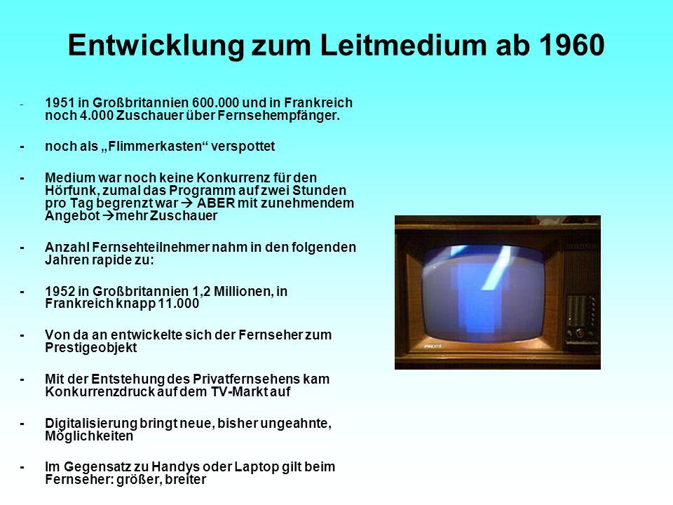"""Entwicklung zum Leitmedium ab 1960 - 1951 in Großbritannien 600.000 und in Frankreich noch 4.000 Zuschauer über Fernsehempfänger. -noch als """"Flimmerka"""