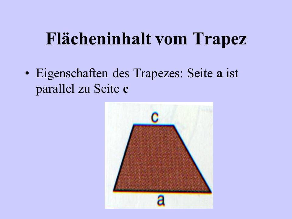Flächeninhalt vom Trapez Was war noch einmal ein Trapez? Das da!