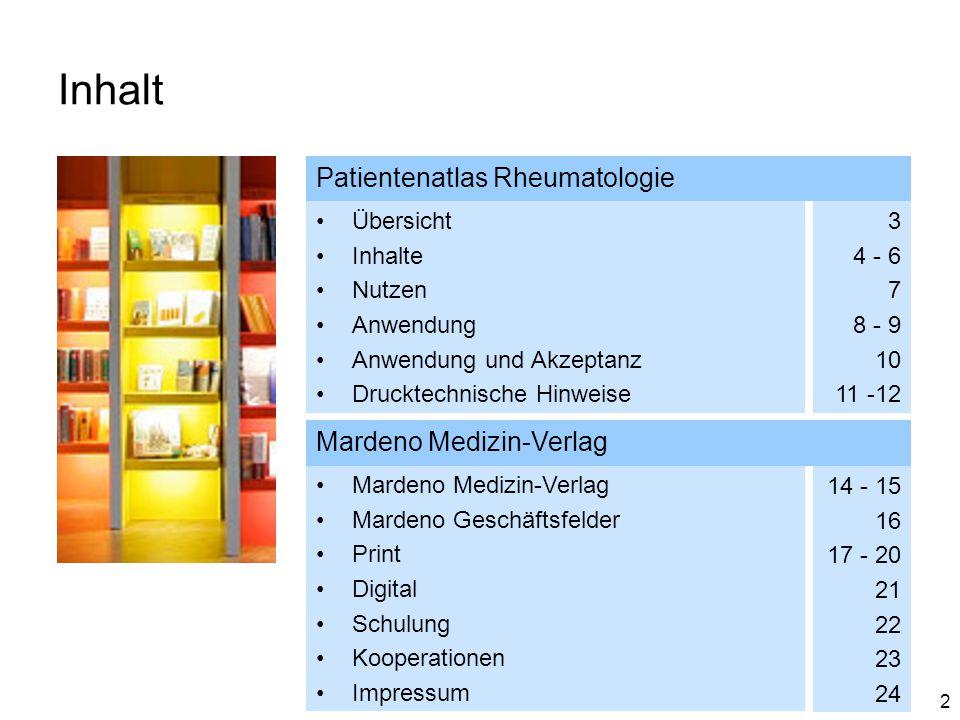 3 Übersicht Zielgruppen Rheumatologen Rheumatologisch tätige Orthopäden Erscheinungsjahr & Auflage 2014 3.000 Exemplare Themenanzahl 32 Kooperationen Berufsverband Deutscher Rheumatologen e.