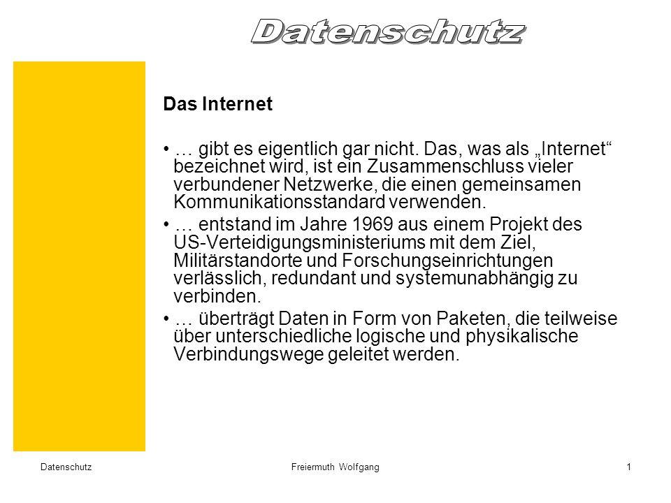 DatenschutzFreiermuth Wolfgang1 Das Internet … gibt es eigentlich gar nicht.