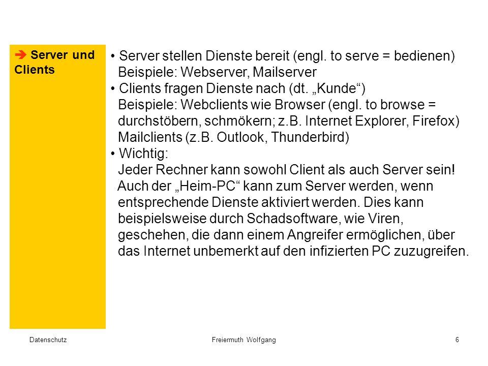 DatenschutzFreiermuth Wolfgang6  Server und Clients Server stellen Dienste bereit (engl.