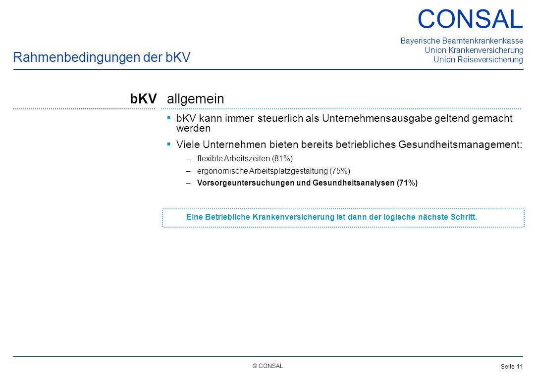 © CONSAL Bayerische Beamtenkrankenkasse Union Krankenversicherung Union Reiseversicherung CONSAL Seite 11  bKV kann immer steuerlich als Unternehmens