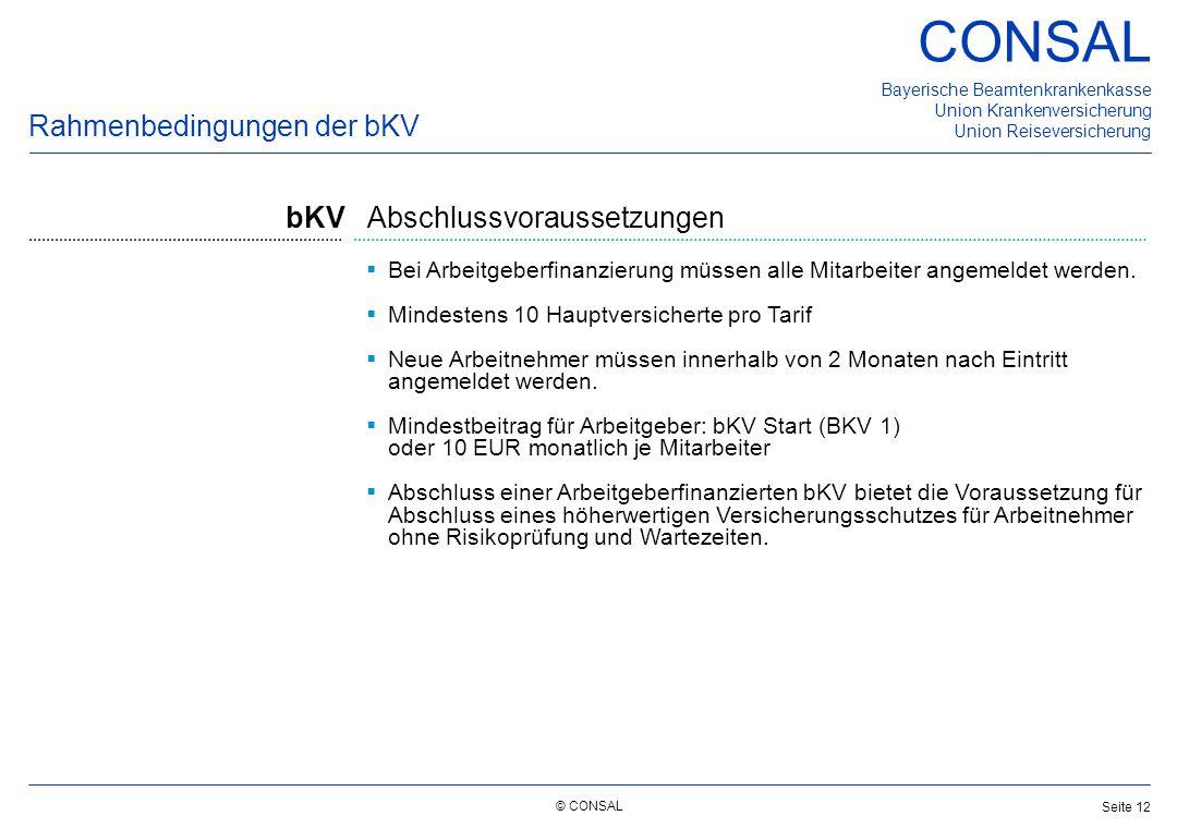 © CONSAL Bayerische Beamtenkrankenkasse Union Krankenversicherung Union Reiseversicherung CONSAL Seite 12  Bei Arbeitgeberfinanzierung müssen alle Mi