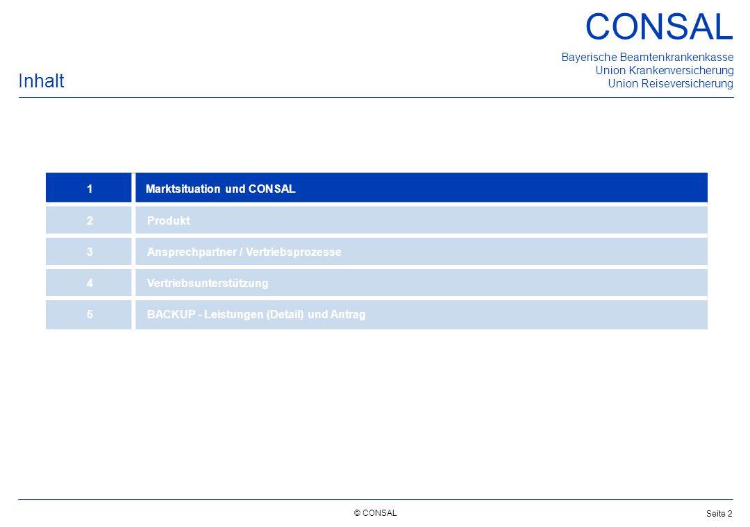 © CONSAL Bayerische Beamtenkrankenkasse Union Krankenversicherung Union Reiseversicherung CONSAL Seite 2 Inhalt 1 Marktsituation und CONSAL 2Produkt 3