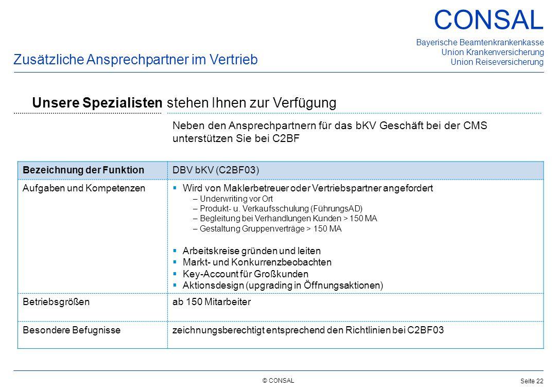 © CONSAL Bayerische Beamtenkrankenkasse Union Krankenversicherung Union Reiseversicherung CONSAL Seite 22 Neben den Ansprechpartnern für das bKV Gesch