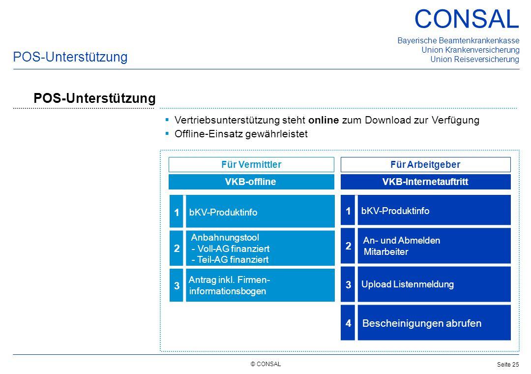 © CONSAL Bayerische Beamtenkrankenkasse Union Krankenversicherung Union Reiseversicherung CONSAL Seite 25  Vertriebsunterstützung steht online zum Do