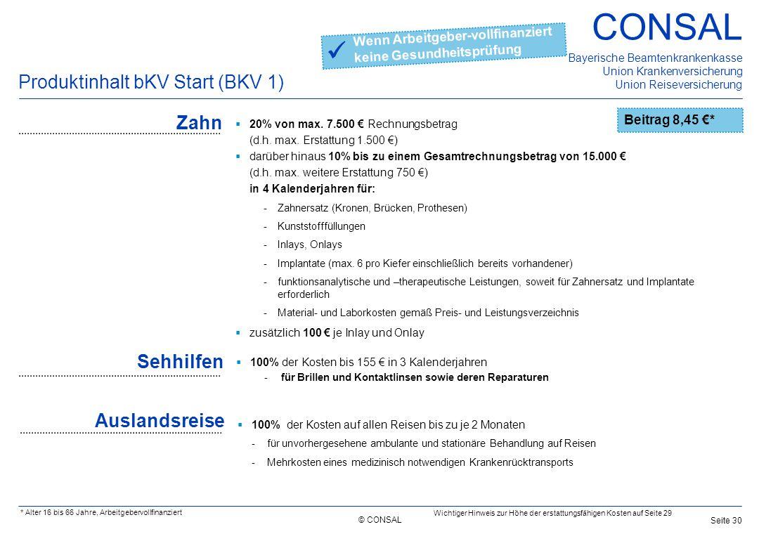 © CONSAL Bayerische Beamtenkrankenkasse Union Krankenversicherung Union Reiseversicherung CONSAL Seite 30 Produktinhalt bKV Start (BKV 1) Zahn  20% v