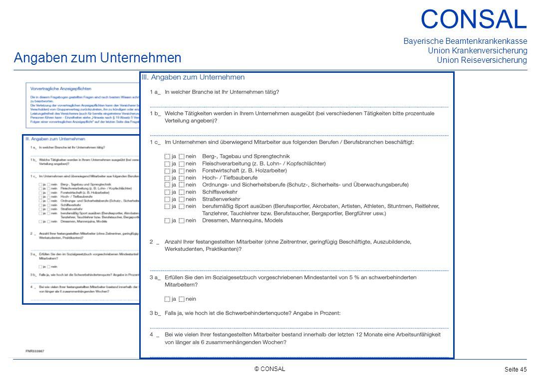 © CONSAL Bayerische Beamtenkrankenkasse Union Krankenversicherung Union Reiseversicherung CONSAL Seite 45 Angaben zum Unternehmen